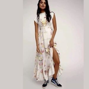 Free People Water Color Print Maxi Dress Sz M